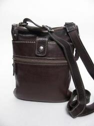 ROOTS CANADA BROWN LEATHER SMALL VENETIAN TRIBE MESSENGER BAG SHOULDER PURSE