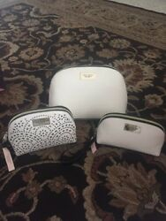 Set Of 3 Victoria Secret Travel Cosmetic Bag Large WHITE COLOR.