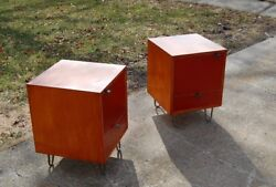 early george nelson herman miller red paint front nightstands bedside tables end