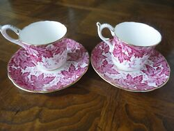 Pair Of Red Leaf Demitasse Cup And Saucer Bone China, Coalport England