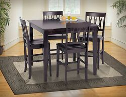 Modern Style Wood Seat Back Dining Set - 5pc Counter Height Table Counter Chairs