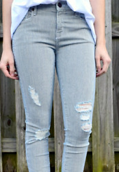 Parker Smith Womenand039s Size 32 / 14 Jeans Ava Skinny Conductor Stripe Usa Made New
