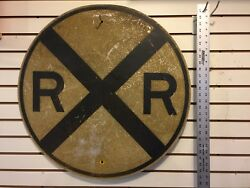 Vintage Authentic Rail Road Crossing Sign 30 Railroad Round Garage Man Cave