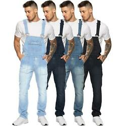 Enzo Jeans Mens Denim Blue Dungarees Dungaree Overalls All Waists Size 30 - 50