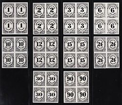 Us O47p3 - O56p3 1c-90c Post Office Dept Plate Proof Blks 4 India Paper Scv1000