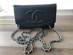 Wallet On A Chain Woc Black Caviar With Silver Hw - Extremely Desirable