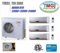 YMGI 48000 BTU 12K-12K-24K TRI 3 ZONE DUCTLESS MINI SPLIT AIR CONDITIONER HEAT