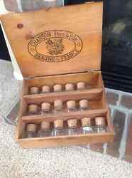 Boxed Set Of 16 Antique Apothecary Spice Jars In Vintage Wine Crate Box
