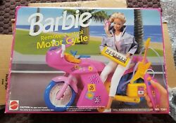 Vintage Mattel Barbie Remote Control Motor Cycle Pink Scooter 1992 New In Box