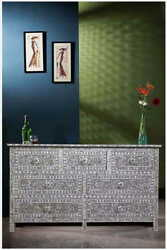 Gray Mother Of Pearl Inlay Chest Of 7 Drawers