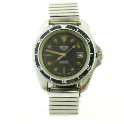 Heuer Prof 1000 Vintage Black Dial Diver 844 Monnin 200m Stainless Steel Watch