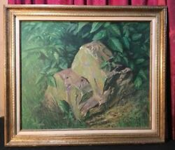 Vintage Taylor Oughton Acrylic Landscape Painting On Board Old And New