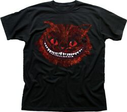 EVIL CHESHIRE Cat Alice in Wonderland All Mad here Hatter black t shirt 9583