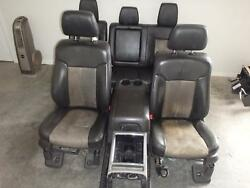 99-10 11-16 FORD F250 F350 FRONT REAR SEAT CONSOLE BLACK LEATHER POWER HEAT MEM