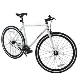 700C X 28C Fixed Gear Bicycle Racing Bicycle Iron Frame Shimano White