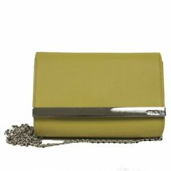 FENDI Womens Handbag Mini Rush Yellow Evening Clutch Wristlet Purse Ba8M0322