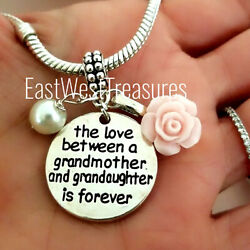 Grandmother Granddaughter Love Charm Bracelet Necklace Jewelry Gift For Grandma