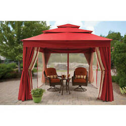 Luxury Outdoor Gazebo 3-Tier Patio Privacy Panels and Mesh Curtains Zip 12x10ft