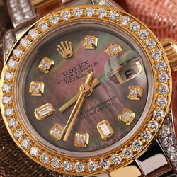 Rolex Black Pearl 8+2 26mm Datejust 18K Gold & SS Side Diamond Oyster Band Watch