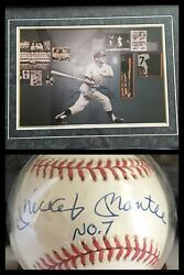 Mickey Mantle Signed Baseball Ball And Autographed Framed Picture