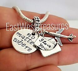 Love You No Matter Where Love Postcard Letter Note Charm Bracelet Necklace Gift