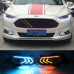 2x Led Daytime Running Light Drl W/ Turn Signal Fit Ford Mondeo Fusion 2013-2015
