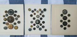 Collectible Antique Vintage Collectors Cards Samples Shank Buttons Lot Of 53