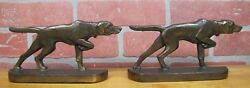 Antique Hubley Pointer Hunting Dogs 303 Bookends Doorstop Decorative Art Statue