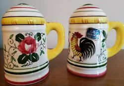 Vtg Ucagco Py Early Provincial Rooster And Roses Salt Pepper With Sticker And Stop