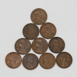 1924 D Lincoln Wheat Cent Penny Average Circulated 10 Coins 2217