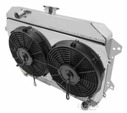 Aluminum Radiator,shroud And 2-12 Fans, 2 Row 1 Tubes Fits Datsun 240z And 260z