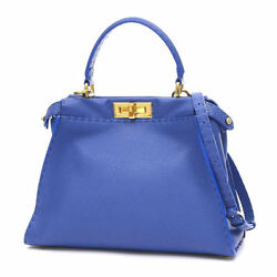 FENDI Cereia Pekabu Regular 2 Way Bag Calfskin Blue 8 BN 226 Free Shipping