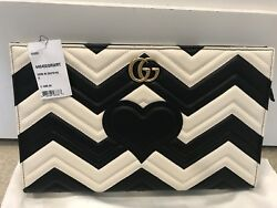 Gucci Marmont  BlackWhite Matelasse Leather Clutch NWT Retail $1590