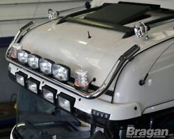 To Fit 2009+ Scania P G R 6 Day Cab Roof Light Bar + Jumbo Spots + Clear Beacons