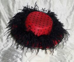 Vintage Mid Century Modern Womens Black And Red Polka Dot Feather Hat