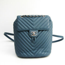 Auth Chanel V Stitch A91121 Women's Leather Backpack Blue