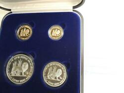 1997 Israel Holy Land Wildlife Lion And Pomegranate 2 Gold +2 Silver Coins Set