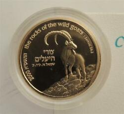 2000 Holy Land Wildlife Wild Goat And Acacia-tree Proof Coin 1/10oz Gold 1nis