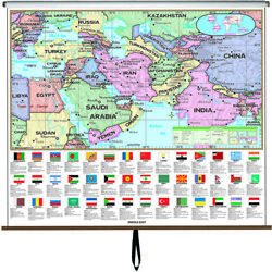 Middle East Essential Classroom Wall Map On Roller