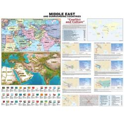 Middle East Historic Wall Map On Roller W/ Backboard