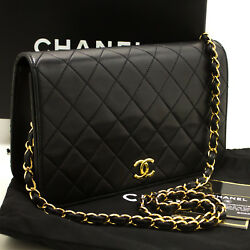 CHANEL Authentic Chain Shoulder Bag Clutch Black Quilted Flap Lambskin Purse m73