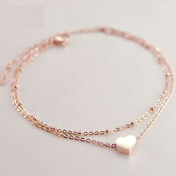 LADIES GIRLS DOUBLE LAYER HEART ANKLET ANKLE BRACELET CHAIN ADJUSTABLE GOLD UK