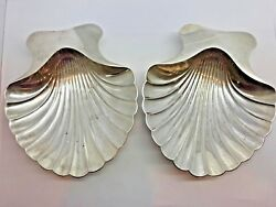 And Co Makers Sterling Silver Footed Scalloped Shell Nut Dishes X2 Vintage
