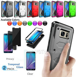 For Samsung Galaxy Note 5 Case Rugged Silicone Rubber Shockproof +Tempered Glass