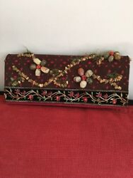 Rare MARY FRANCES Deep Red BEADED AND EMBROIDERED Evening ClutchShoulder BAG