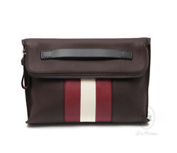 BALLY Calf Leather Coffee Brown Mens Messenger Clutch Bag BENJY-221 Authentic