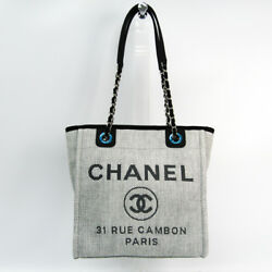 Auth Chanel Deauville PM A66939 Women's RaffiaLeather Tote Bag BlackLight Gray