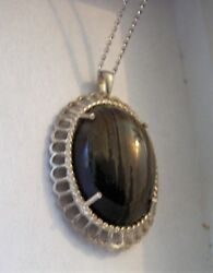 Marked Sterling Silver Gray Black Stripe Oval Picture Agate Pendant Necklace