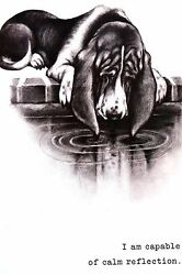 Boswell BASSET HOUND Capable of Calm Reflection 1958 Vintage Dog Print Matted