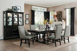 Formal 7 Pc Rustic Country Style Dining Table Grey Gray Chairs Furniture Set